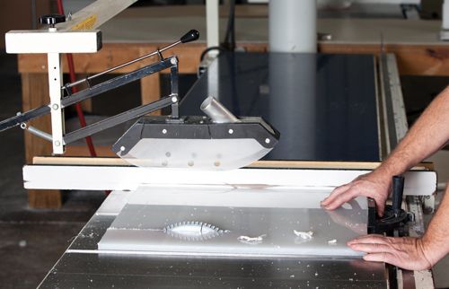 Plastic Cutting on Table Saw by Fabrication Cutting Technician