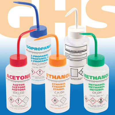 GHS Certified Multi-Lingual LDPE Wash Bottles