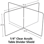 172264-0031 Clear Plastic Table Divider Shield